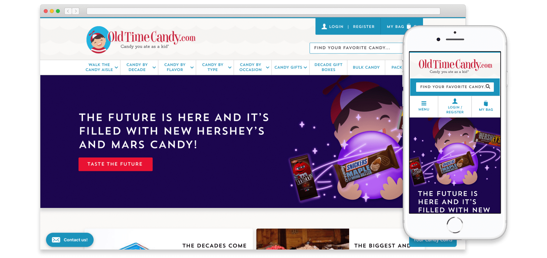 A mockup of the OldTimeCandy.com website on desktop and mobile sizes.