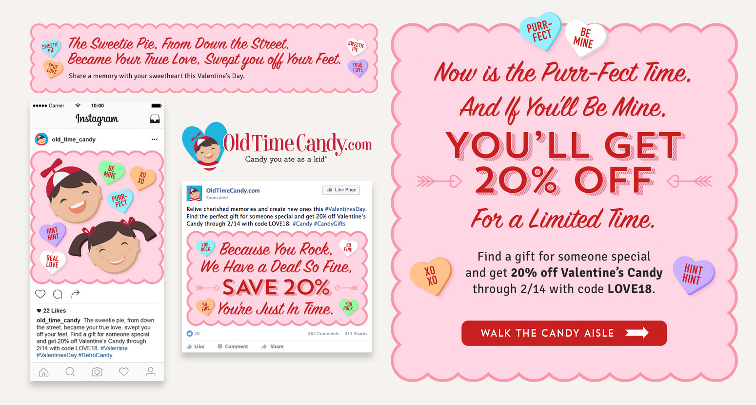 A Valentine's Day promotional campaign for OldTimeCandy.com.
