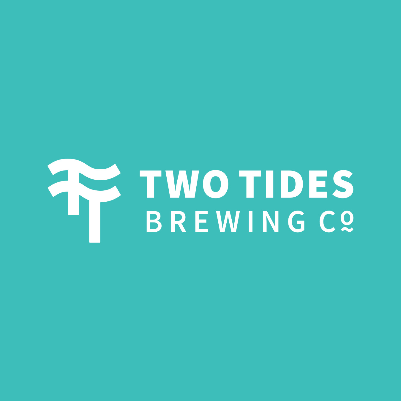 The Two Tides Brewing Co. logo on the Two Tides Teal.